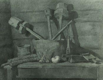 Тарас Бочаров, Екатерина Комракова. Натюрморт с деталями от ткацкого станка.